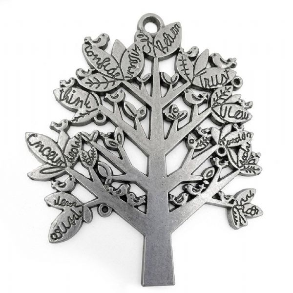Antique Silver Tree with Writing 60mm x 70mm